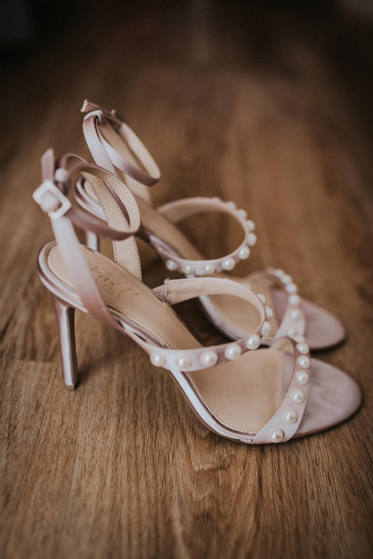 pearl adorned open toe stilettos