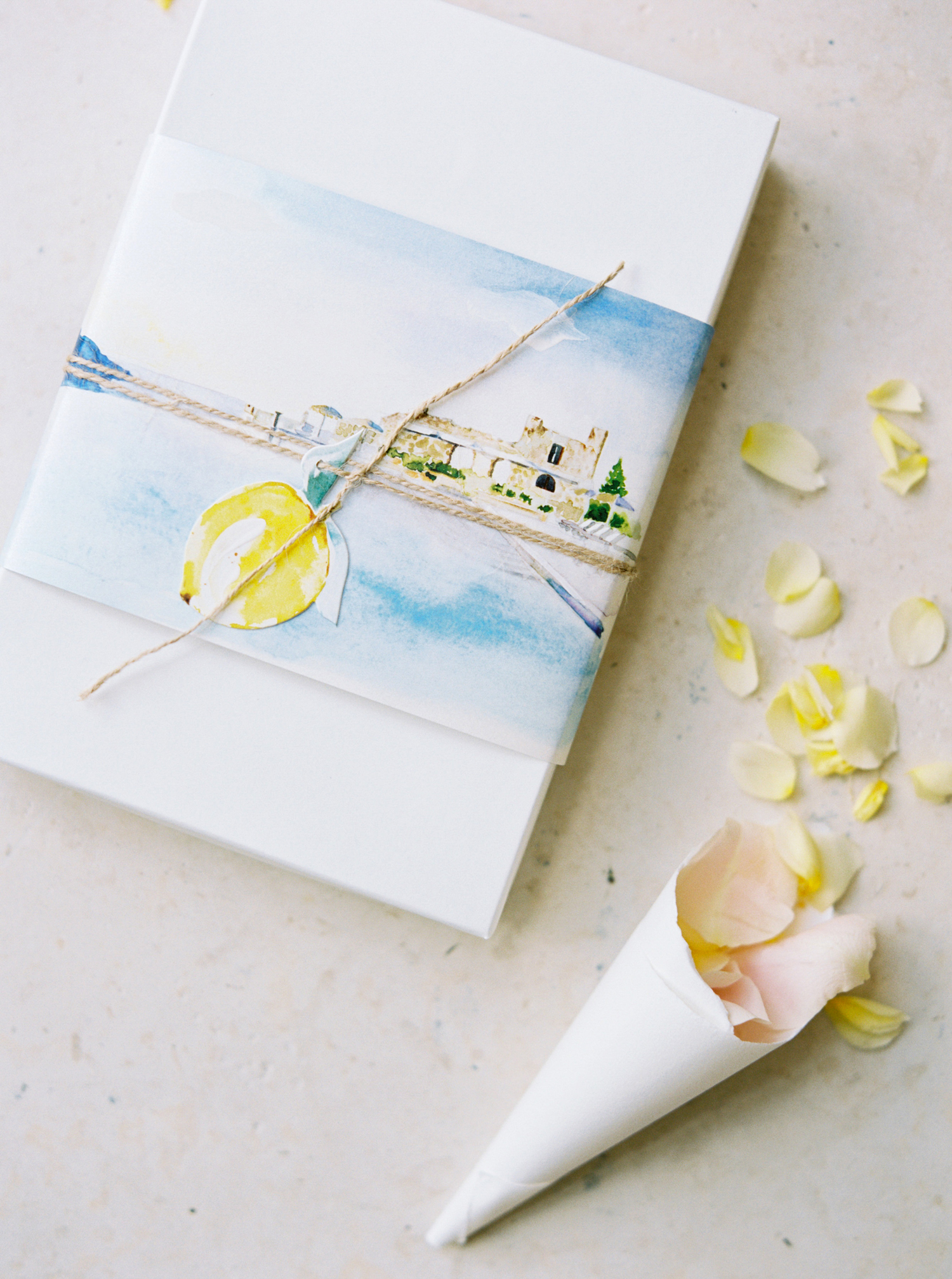 allie and joe italy wedding watercolor box with cone of flower petals