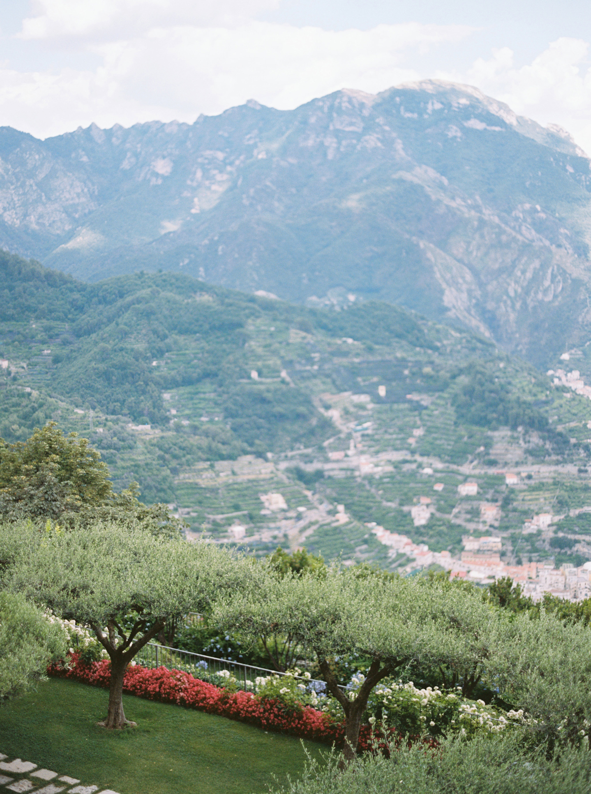allie and joe italy wedding view of mountains from venue