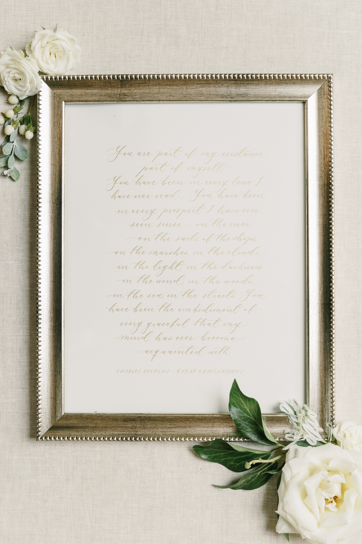 framed calligraphy passage