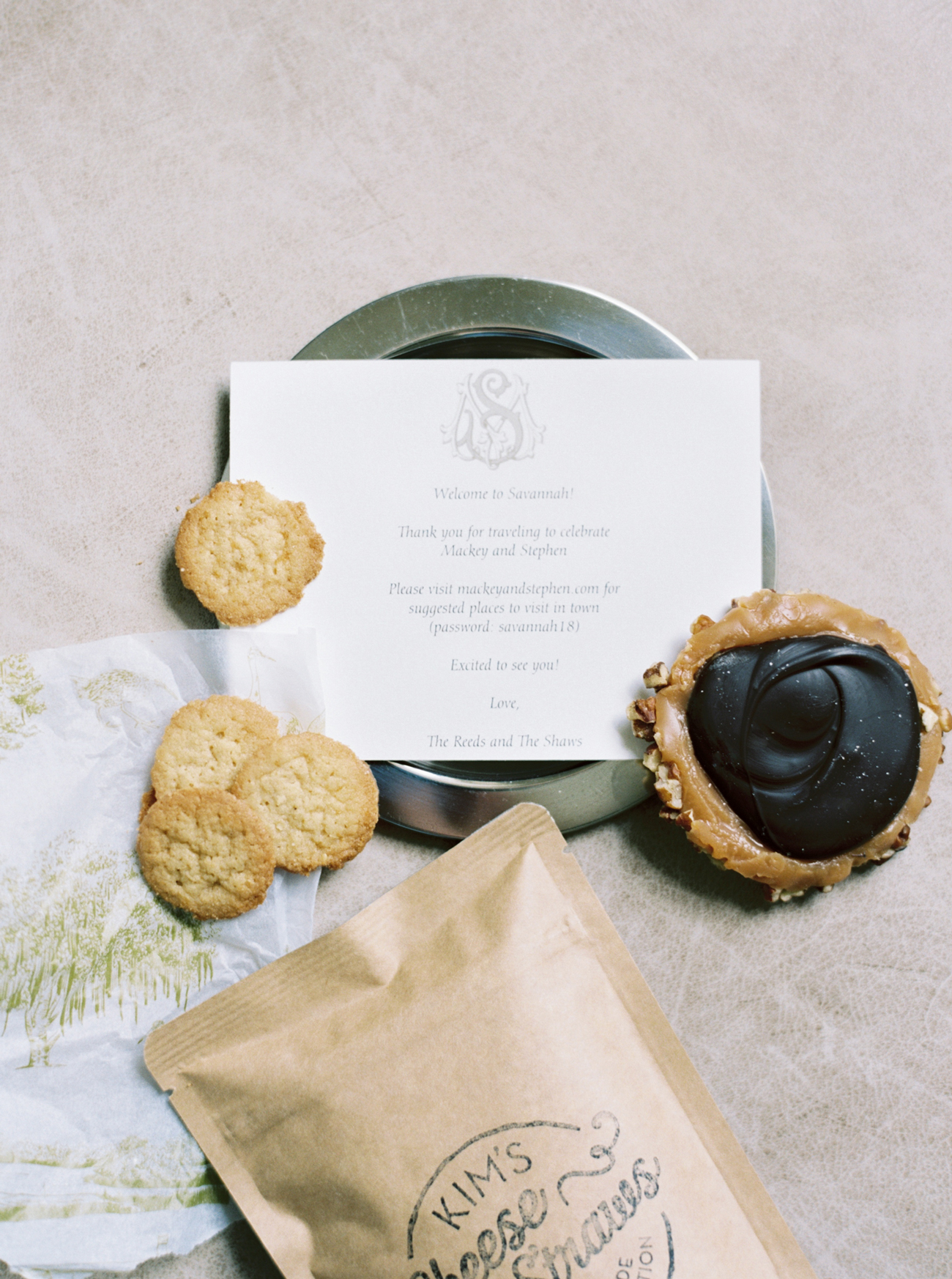 bride and groom put together welcome bag of goodies for guests