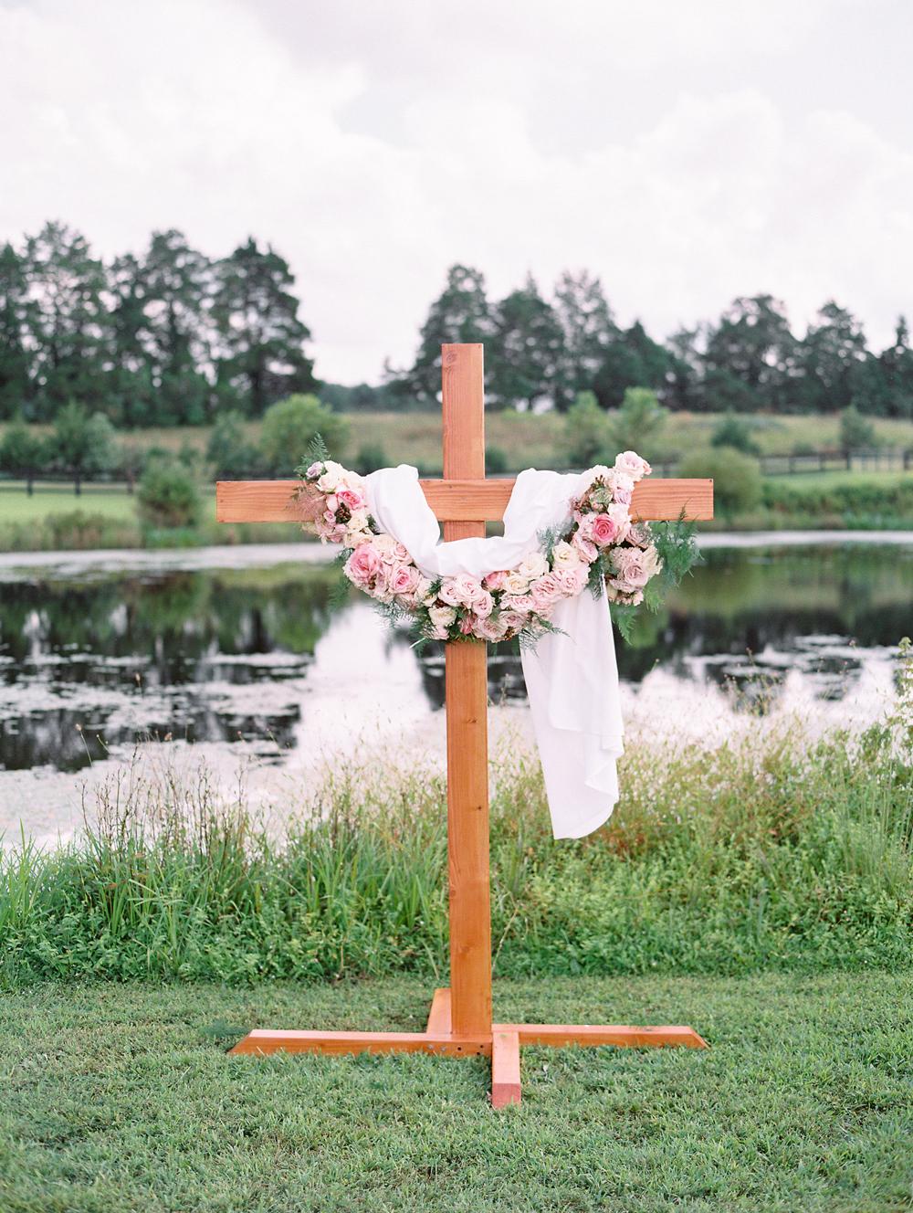 custom wooden cross alter outside