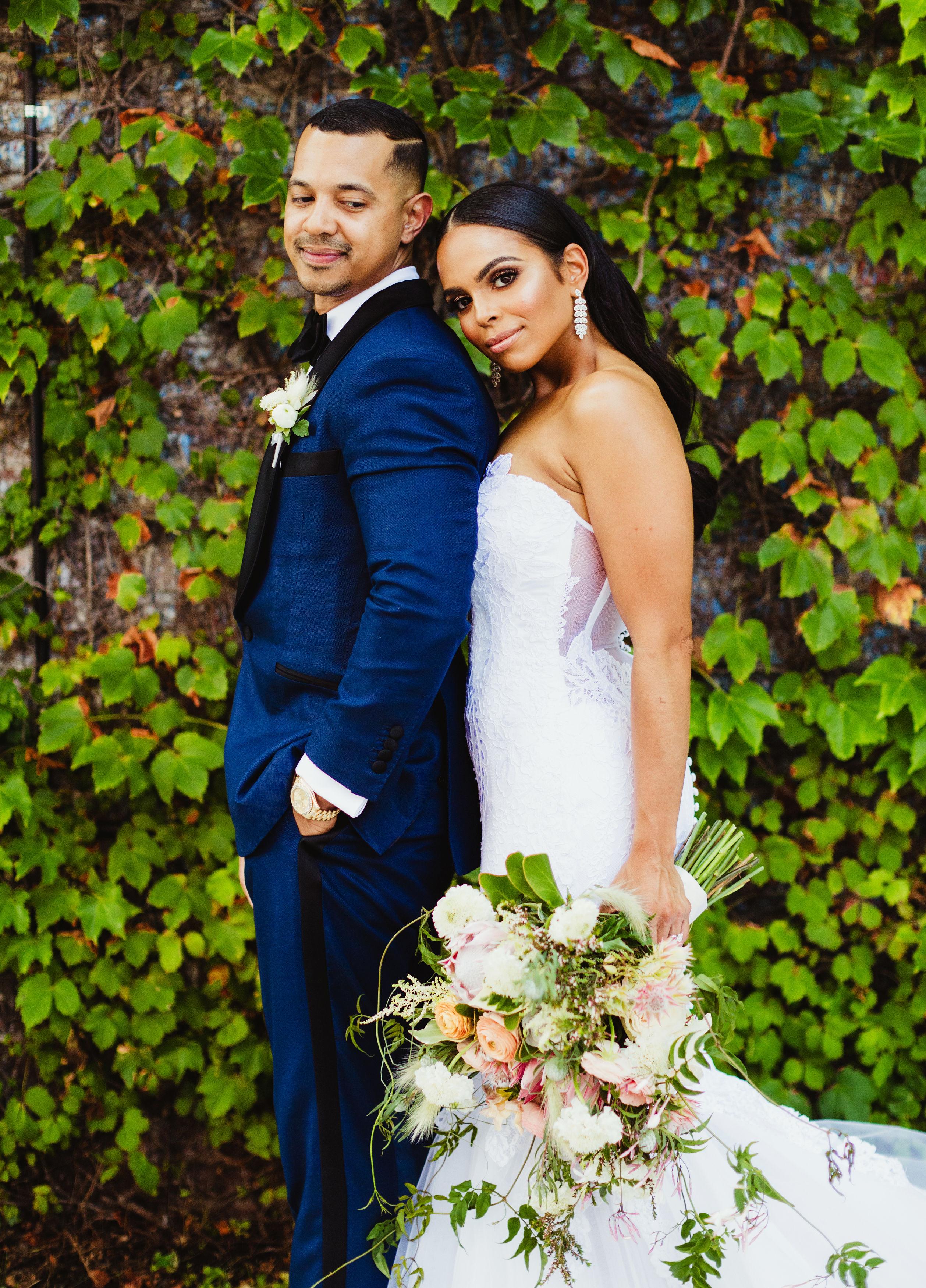 bride leaning on groom's shoulder