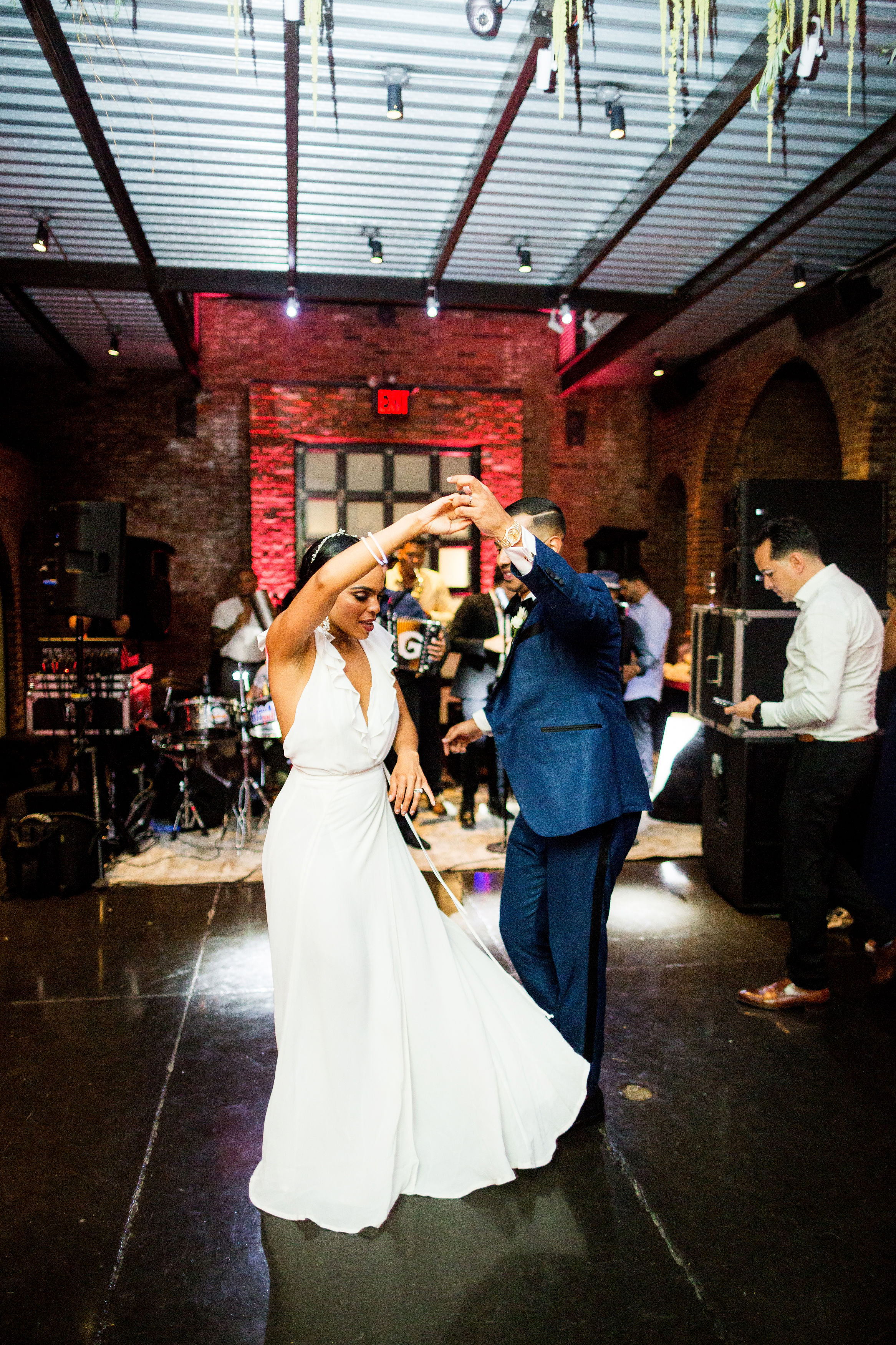 bride and groom first dance twirl