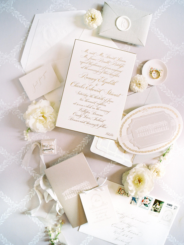 ramsey charles ireland wedding invitation stationary