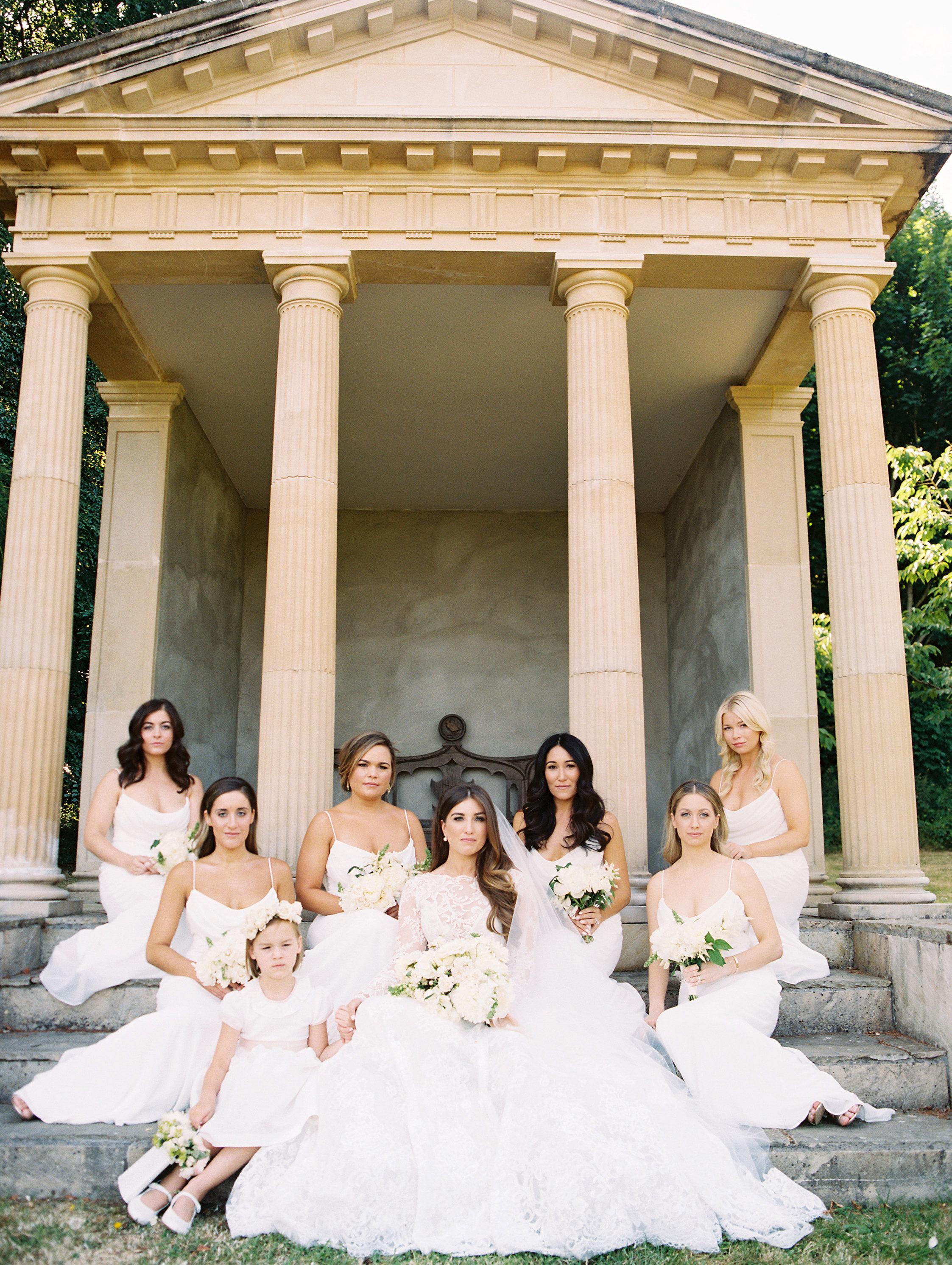 ramsey charles ireland wedding bridesmaids and bride on steps