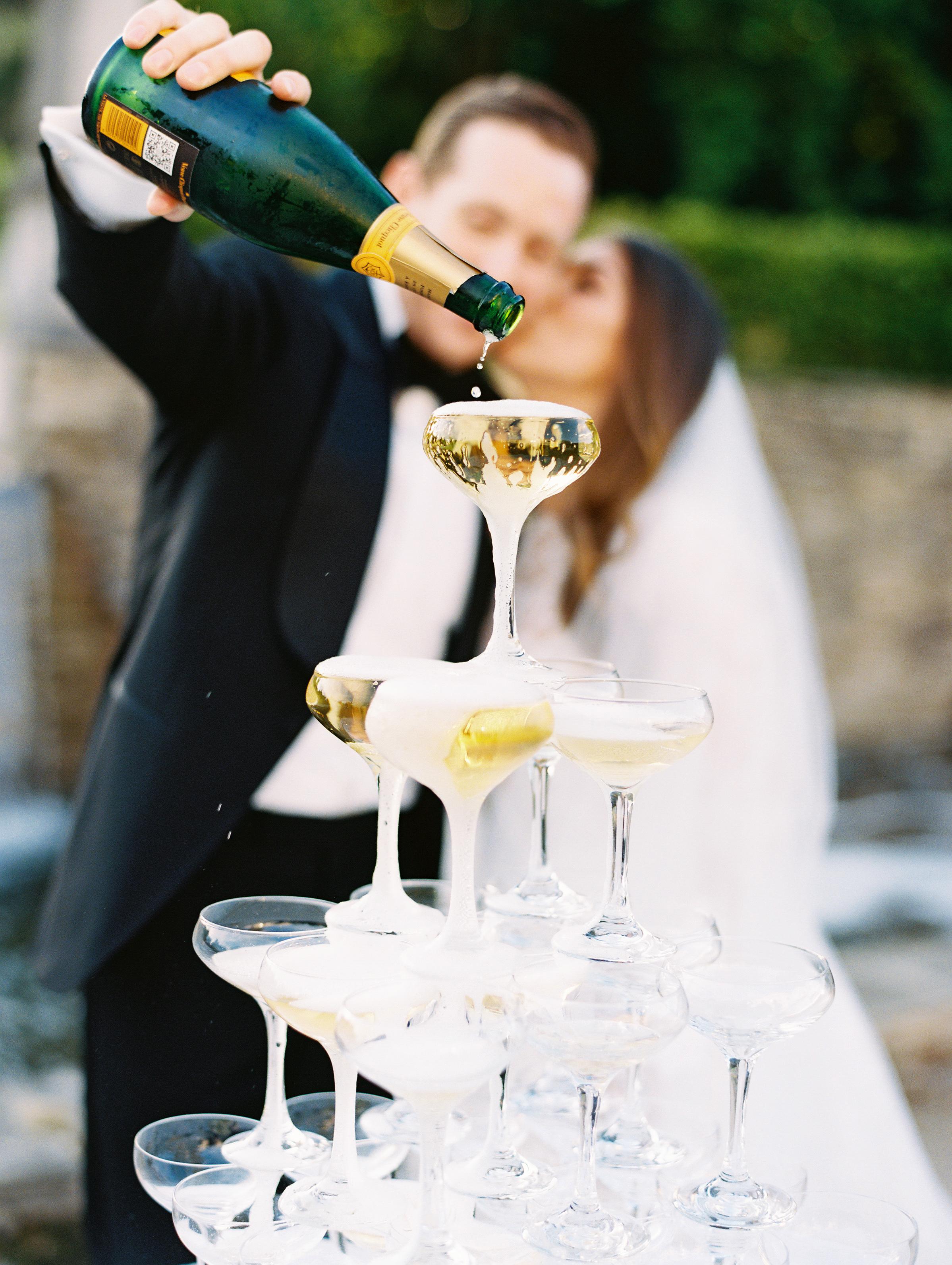 ramsey charles ireland wedding champagne tower