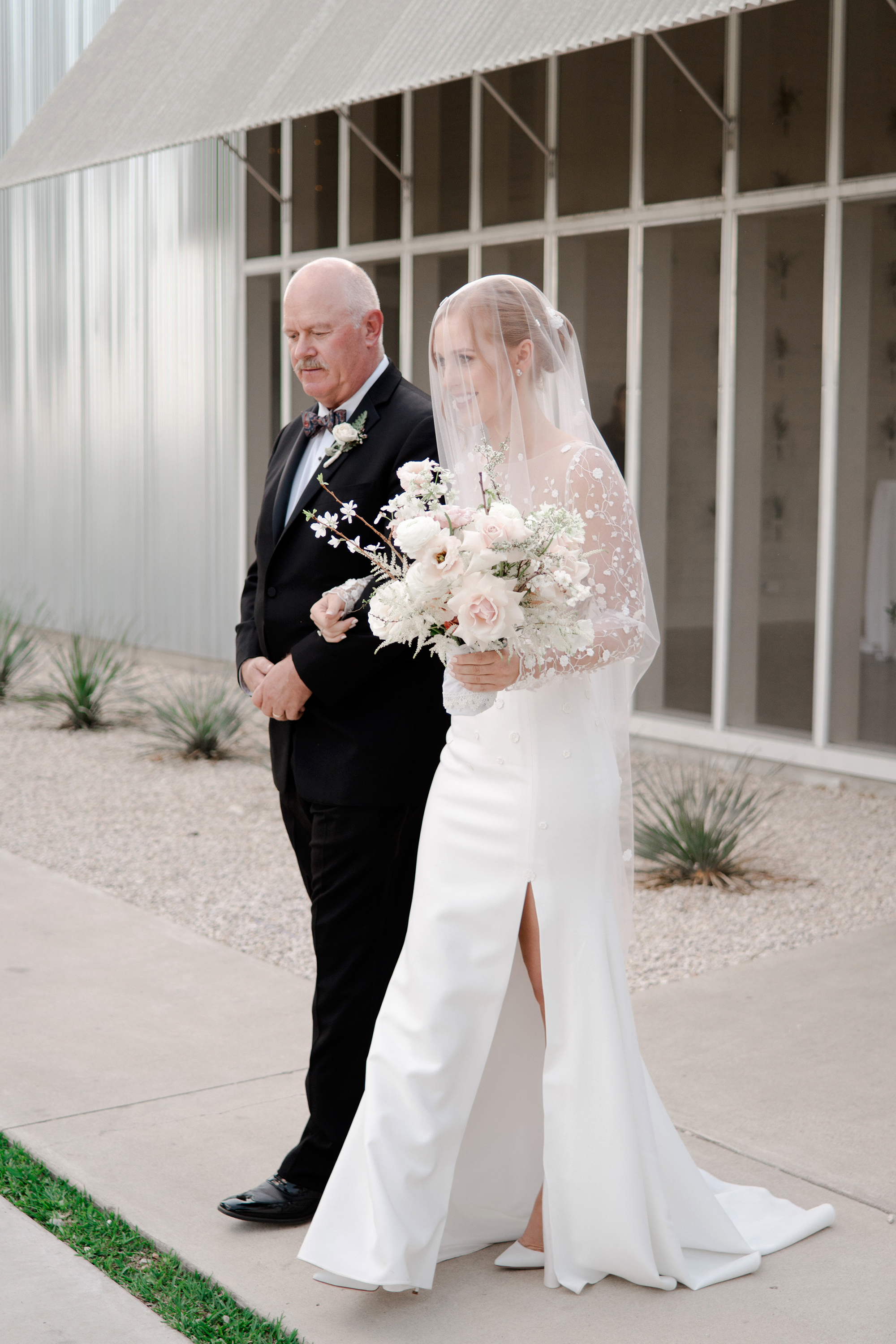 brittany peter wedding processional bride and father