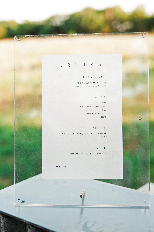 brittany peter wedding drink signage