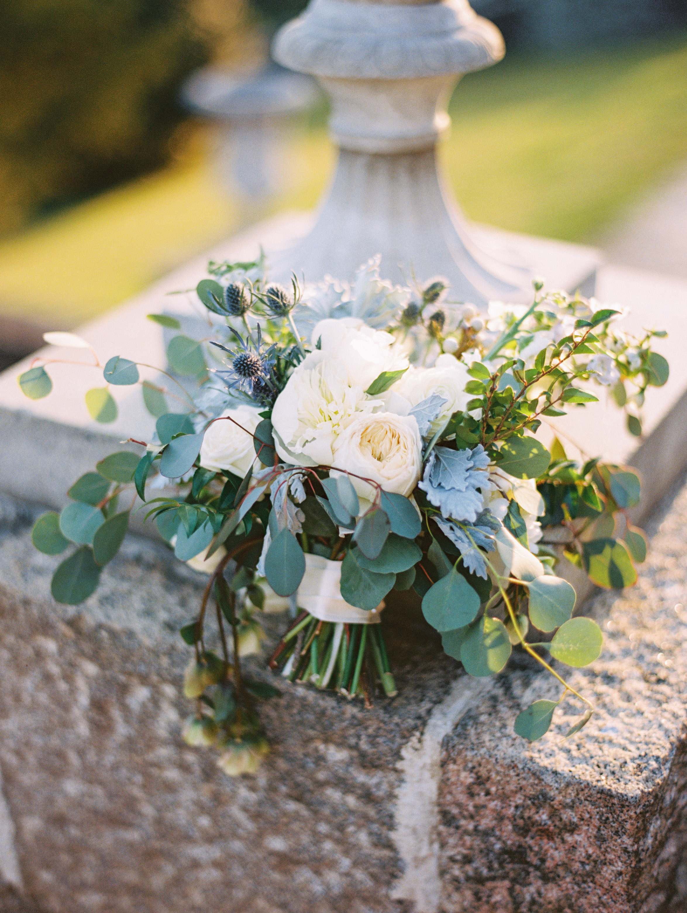 wedding bridal bouquet white green blue gray flowers