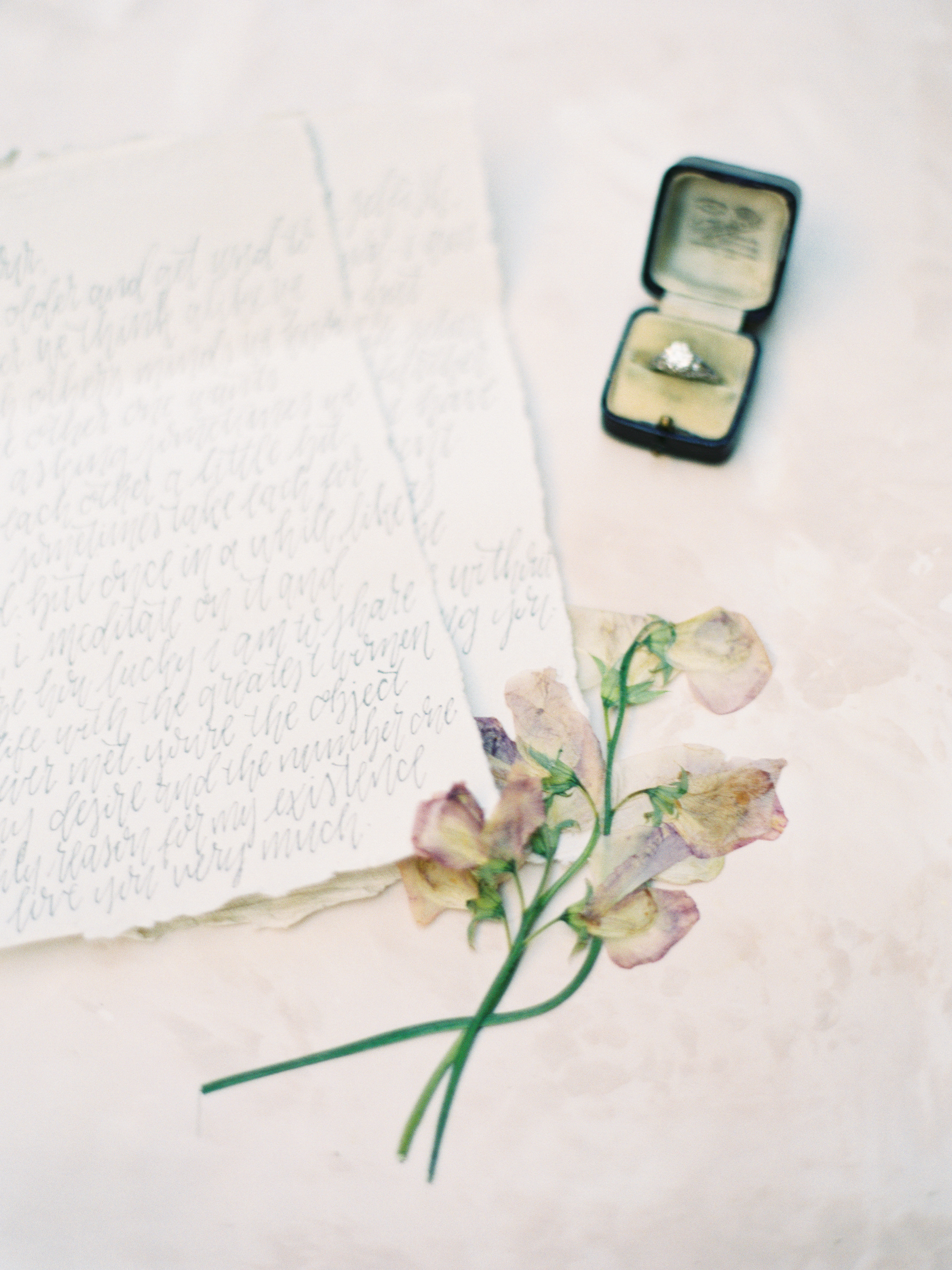 Pressed Flower Engagement Ring Photo