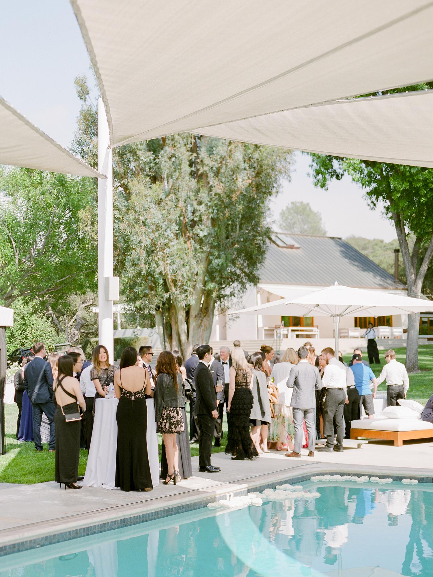 grace ceron wedding guests pool