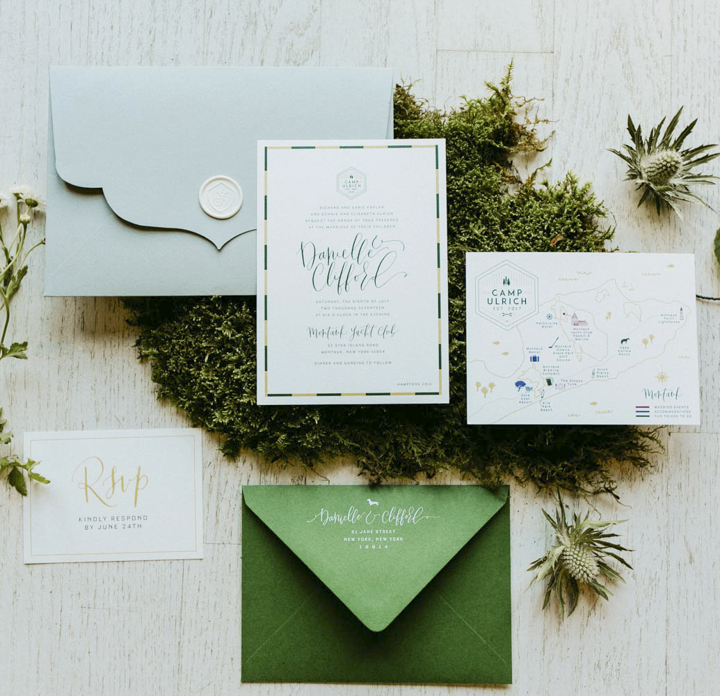 camp-inspired green invitations