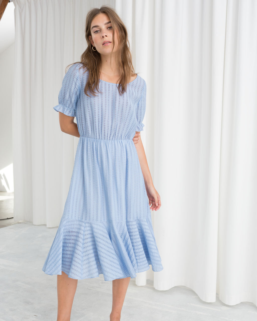 baby blue striped midi dress with puffed sleeves