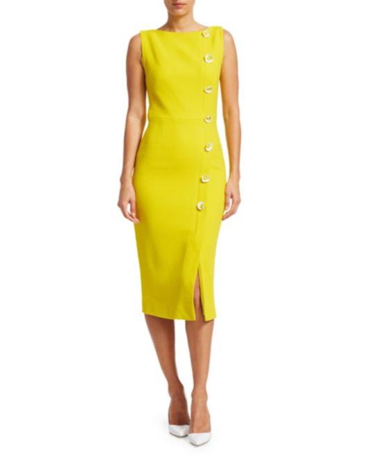 Daisy Button Boatneck Yellow Sheath Midi Dress