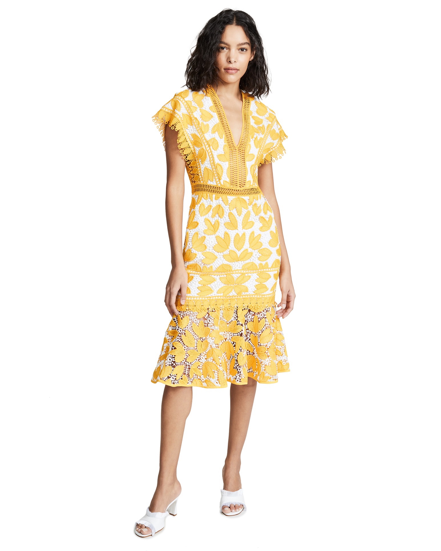 mustard Embroidered detail midi dress with white lining