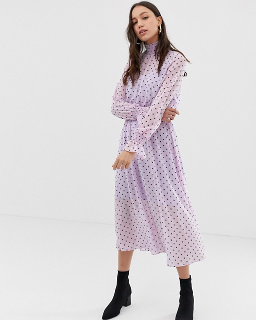 high neck long sleeve pink polka dot midi dress