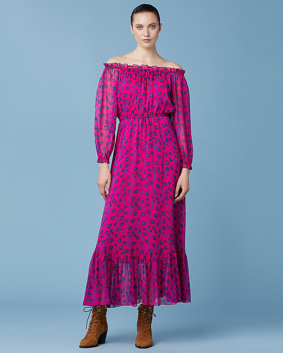long magenta off-the-shoulder chiffon sleeve with black and indigo floral print