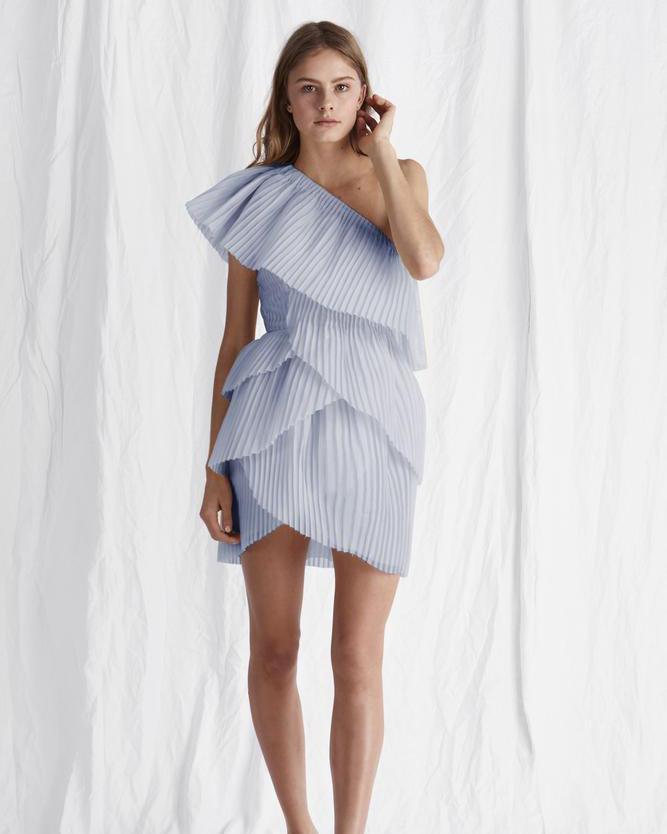 Powder Blue Pleated Mini Dress