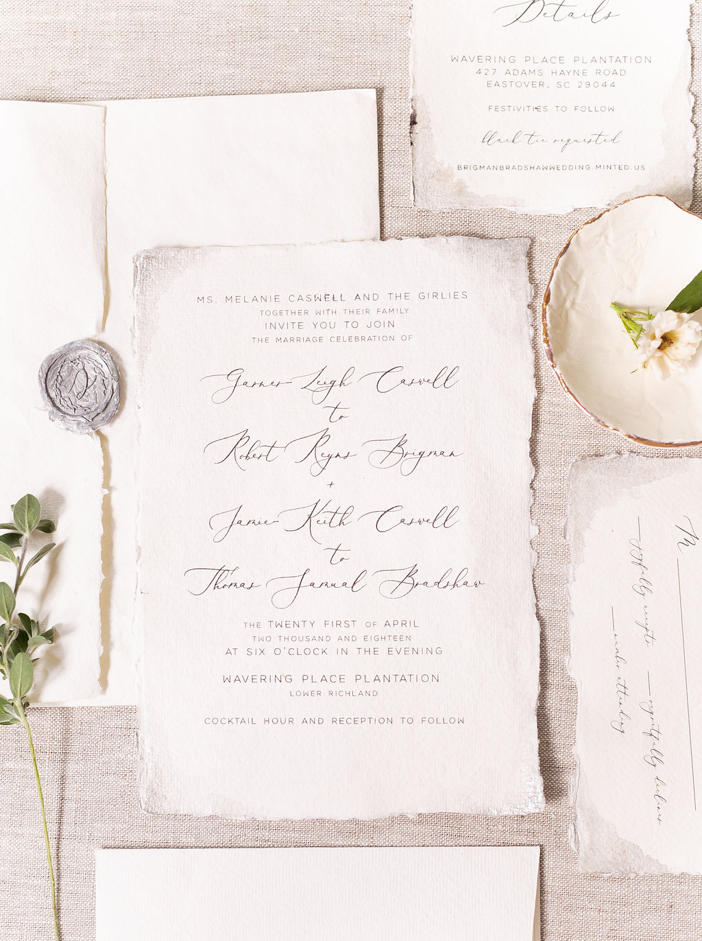 double wedding stationary suite on white deckled-edge paper