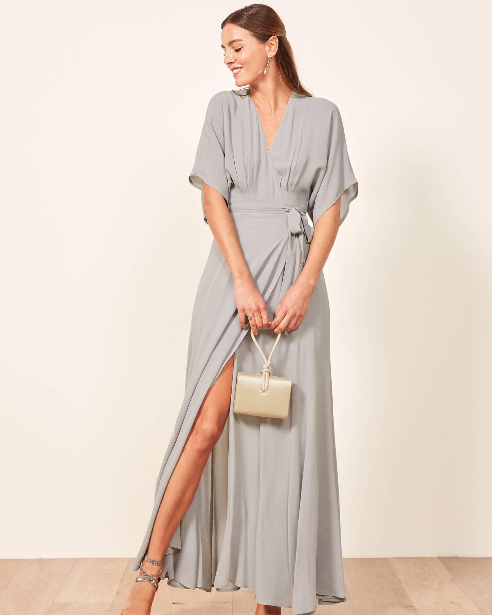 v-neck gray maxi wrap dress with kimono sleeves