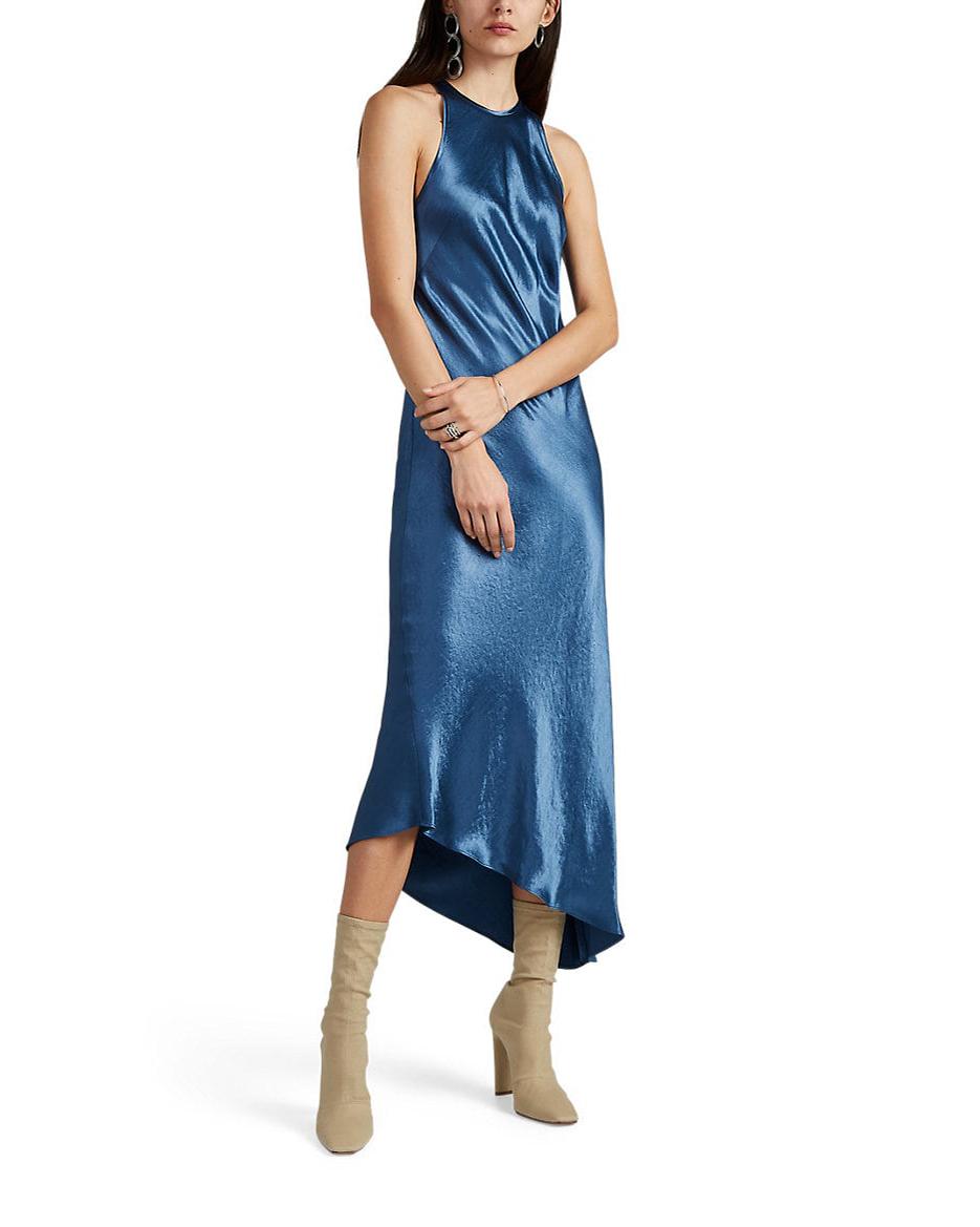crewneck blue washed satin asymmetric midi dress
