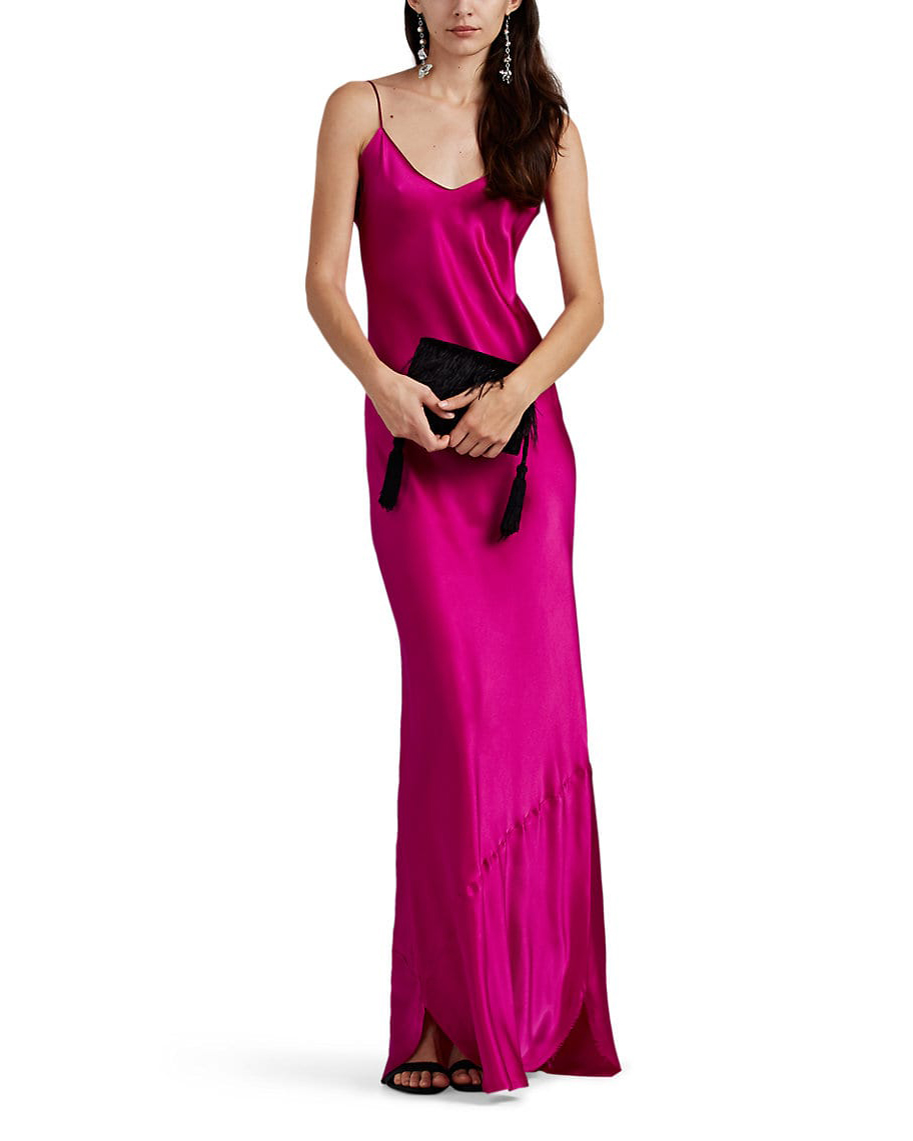 fuchsia silk charmeuse slip maxi dress