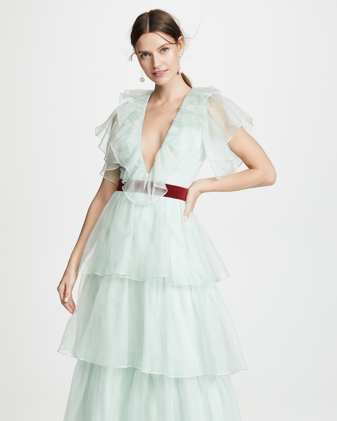 sea foam green plunge neck layered tulle dress