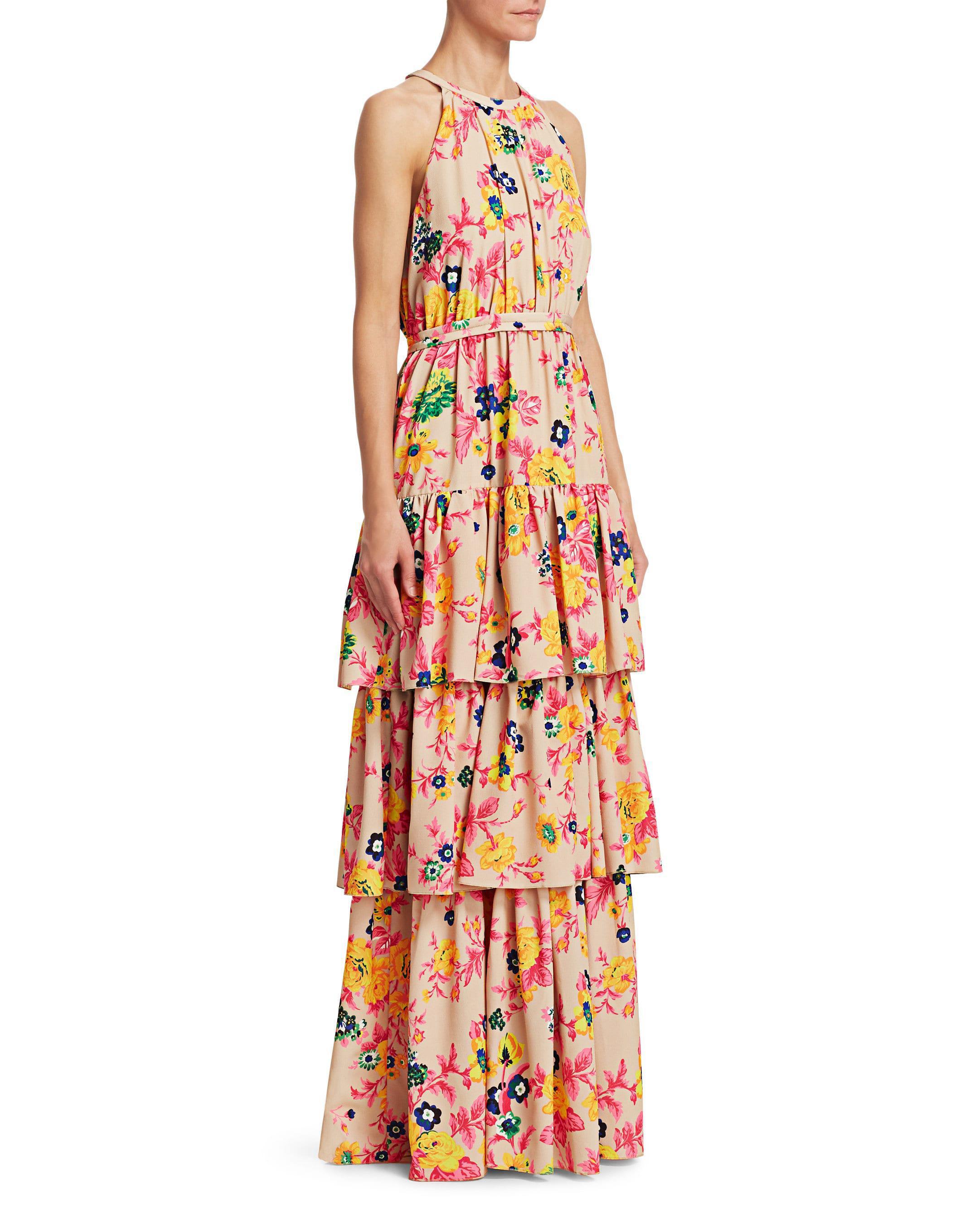 floor length tiered beige dress with multicolor florals