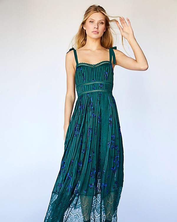 emerald silky striped midi dress with sweetheart neckline and royal blue floral print