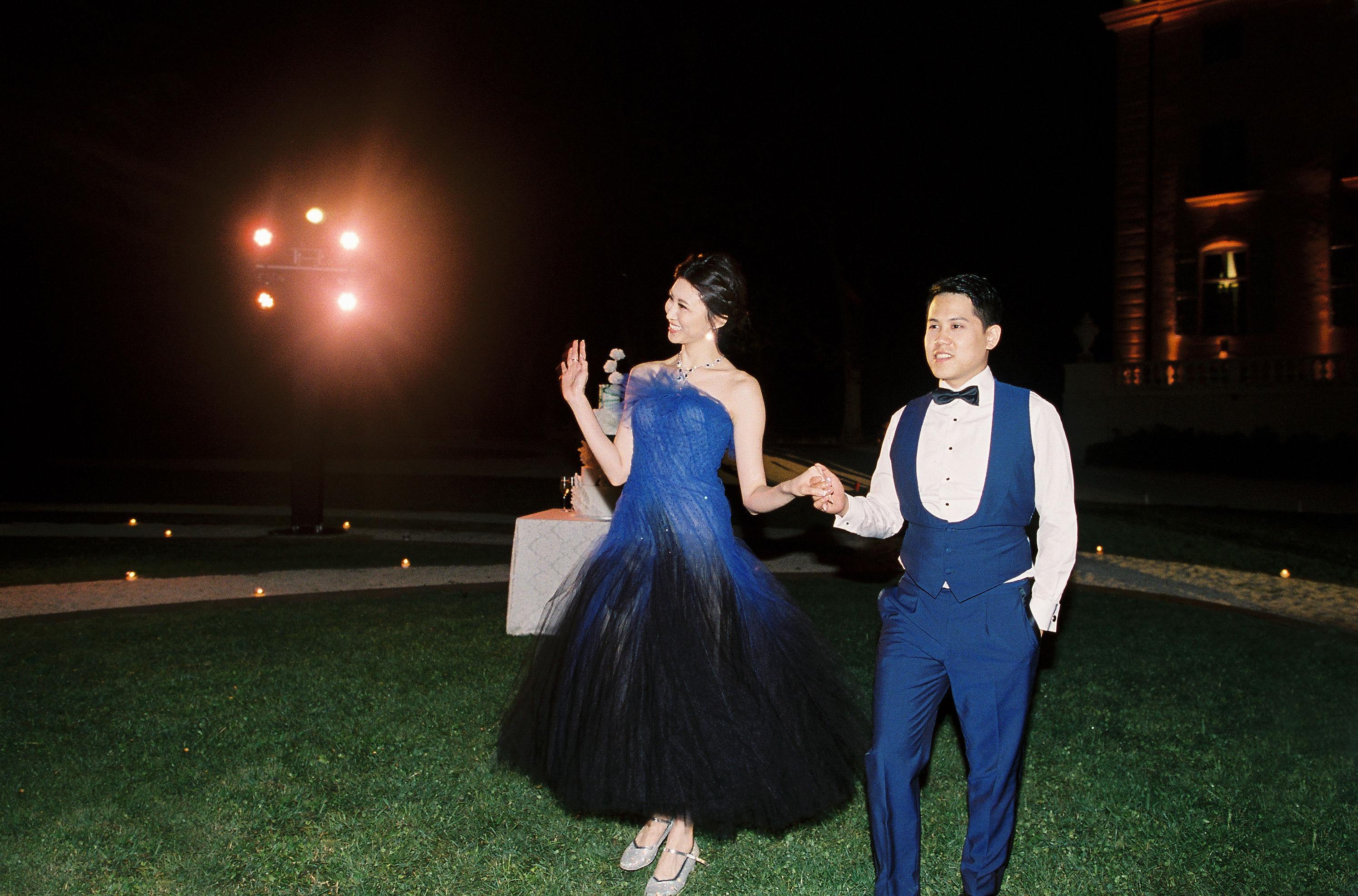 janet patrick wedding reception dress blue