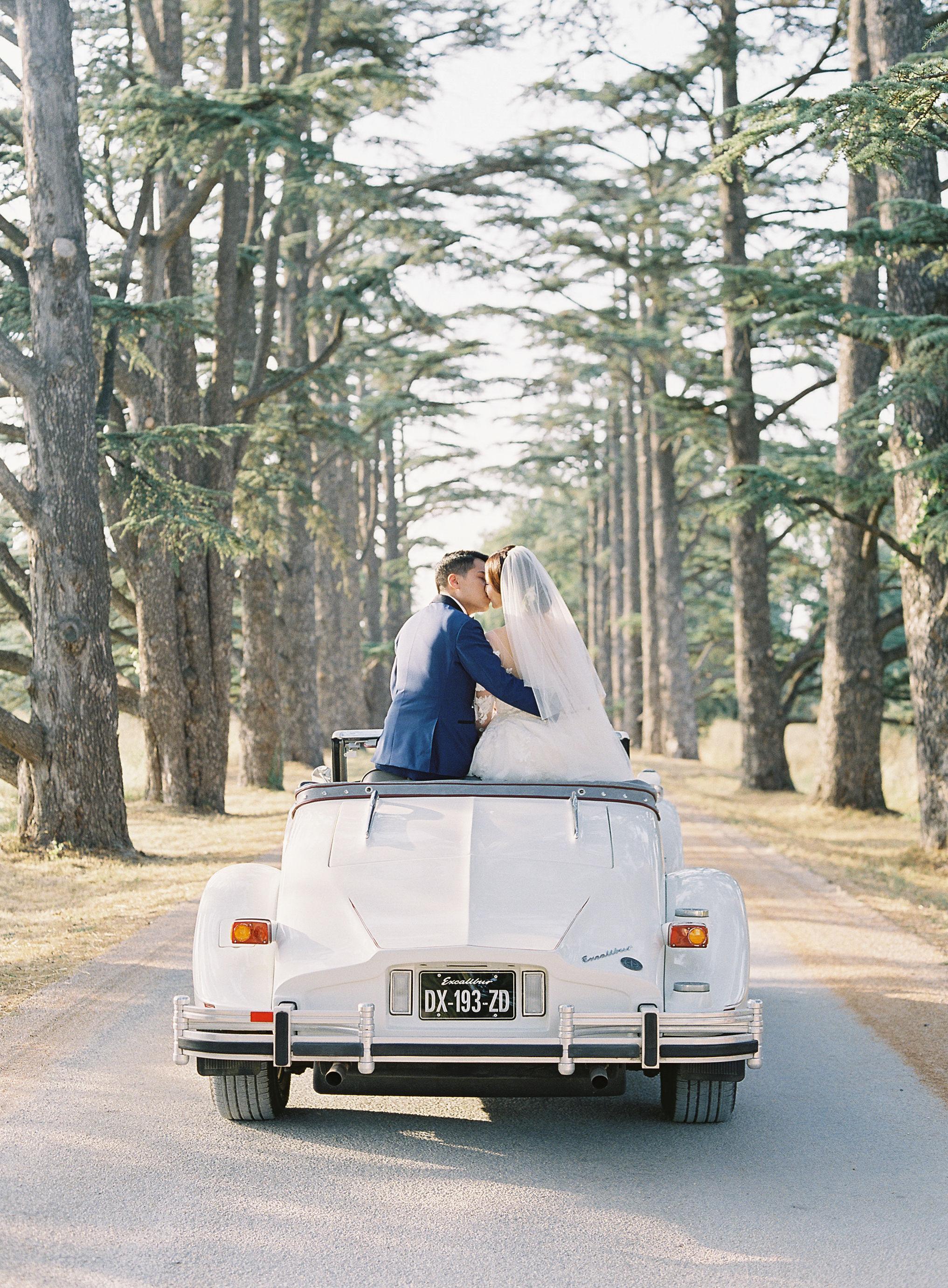 janet patrick wedding couple in vintage car