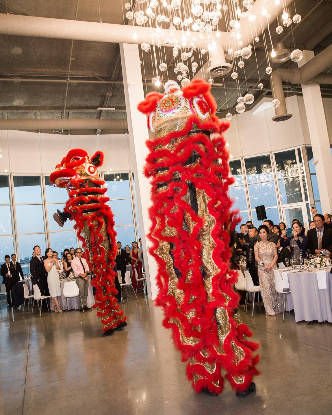 wedding reception lion dancer performance