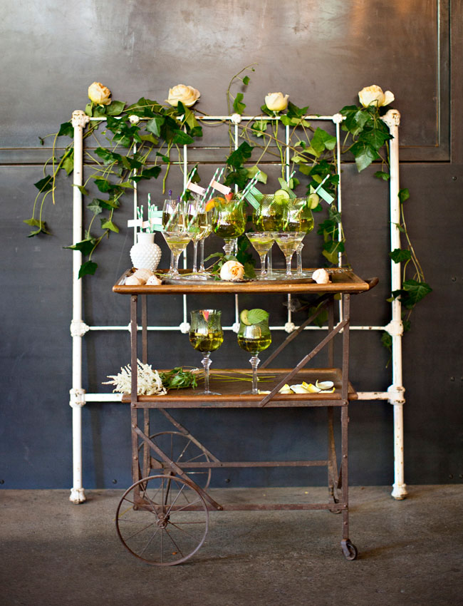 emerald-themed wedding bar cart