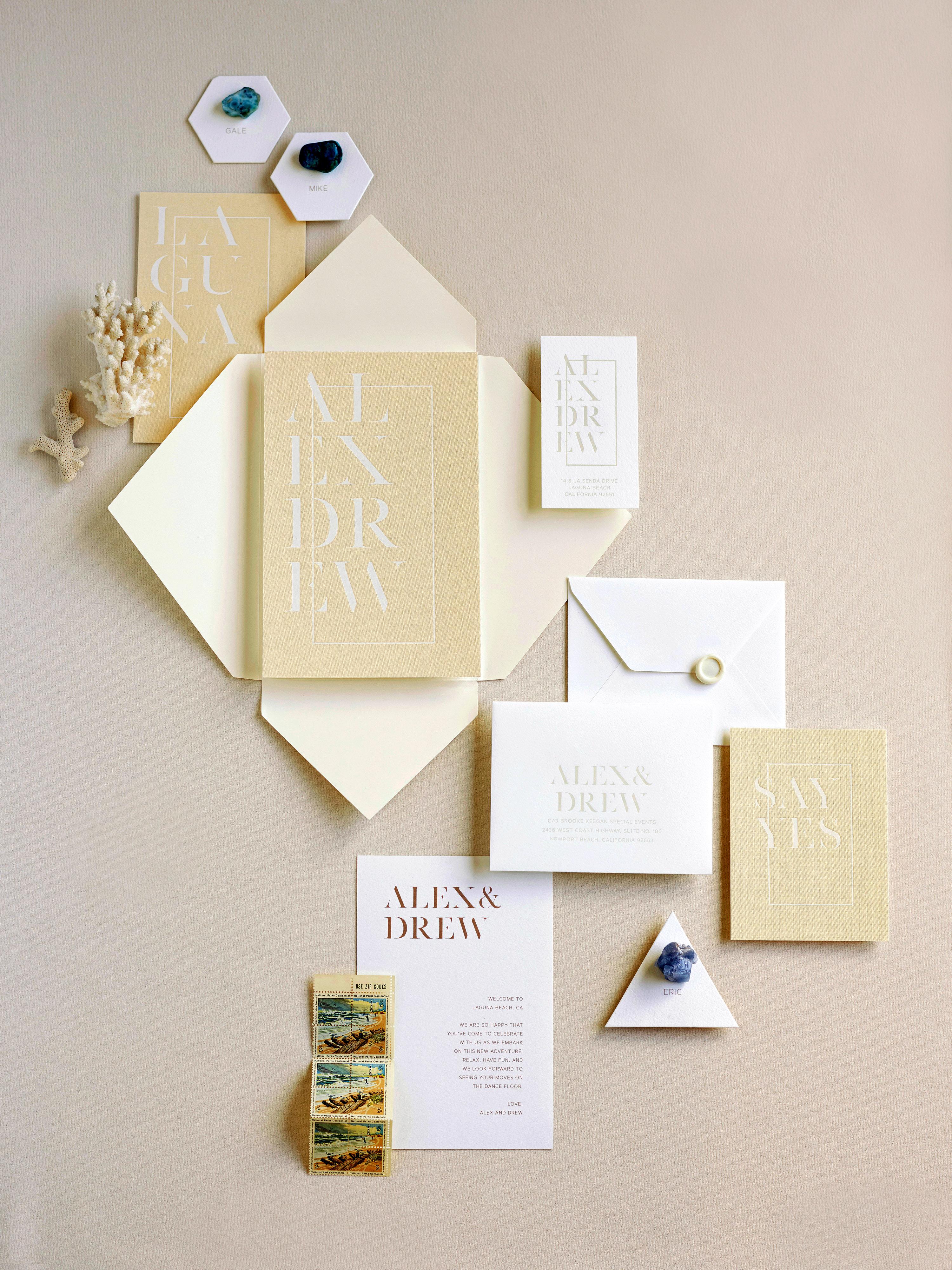 alex drew california wedding invitation stationary suite