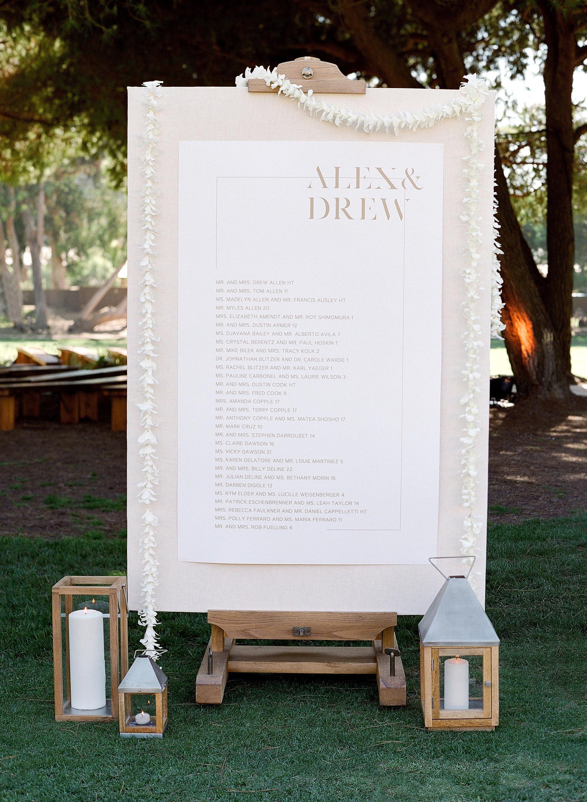 alex drew california wedding seating chart sign with lanterns