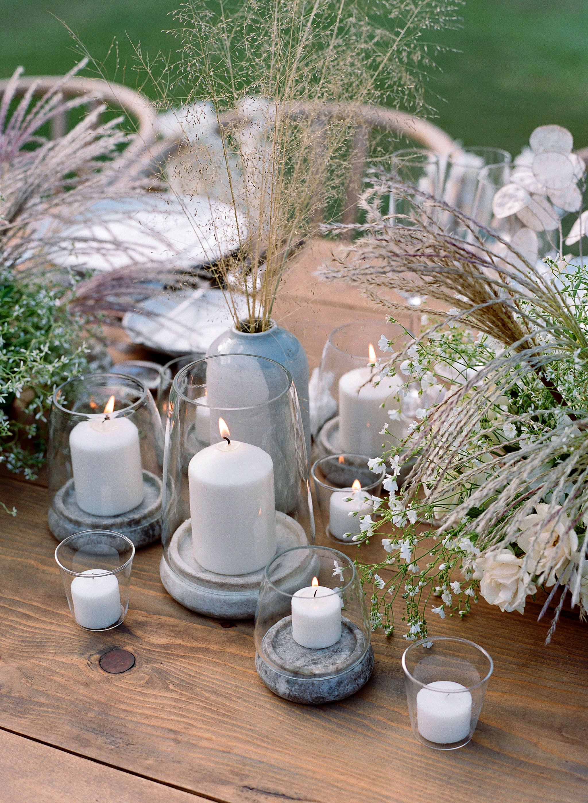 alex drew california wedding candle flowers centerpiece