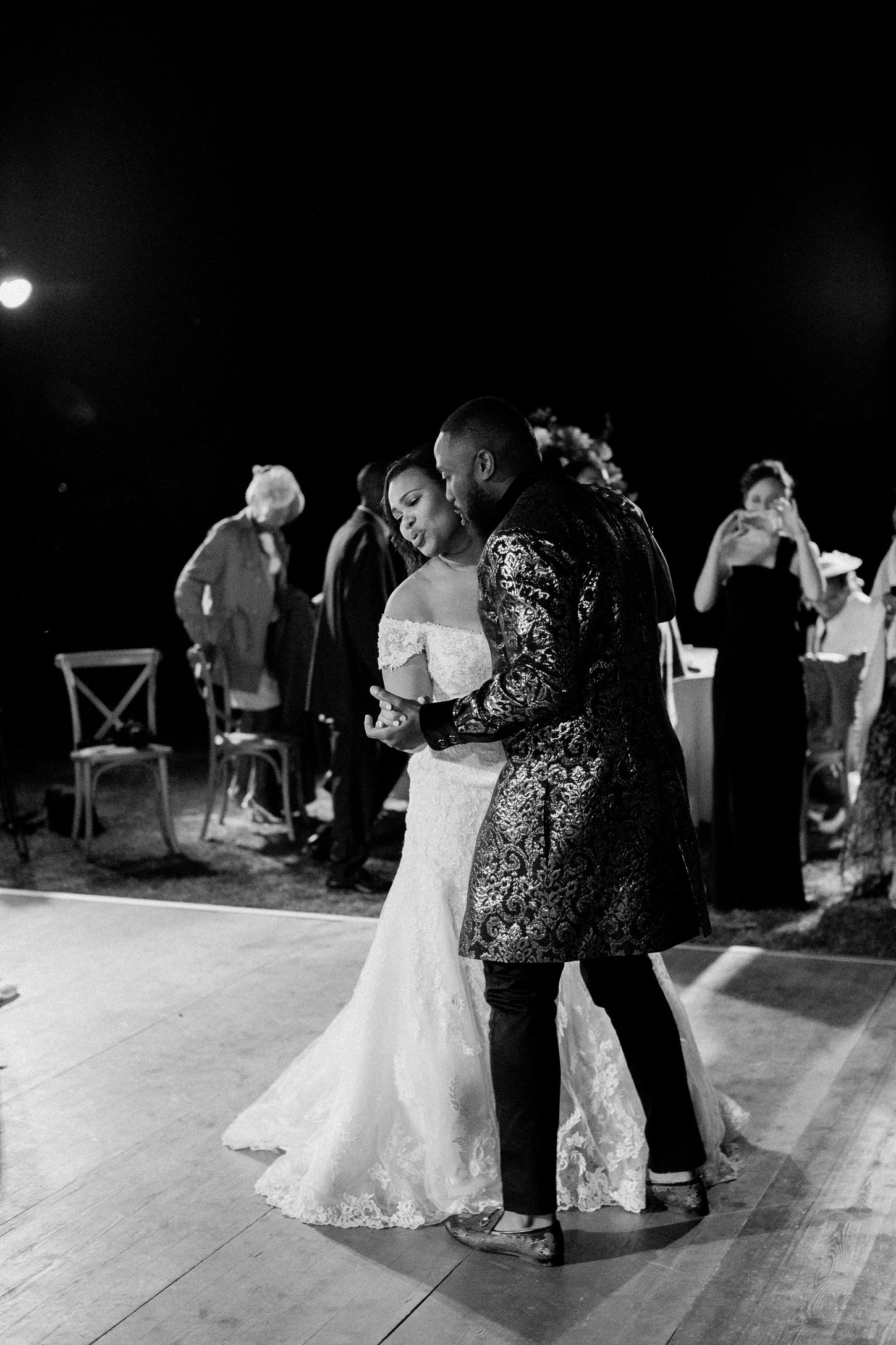 bride and groom during first dance