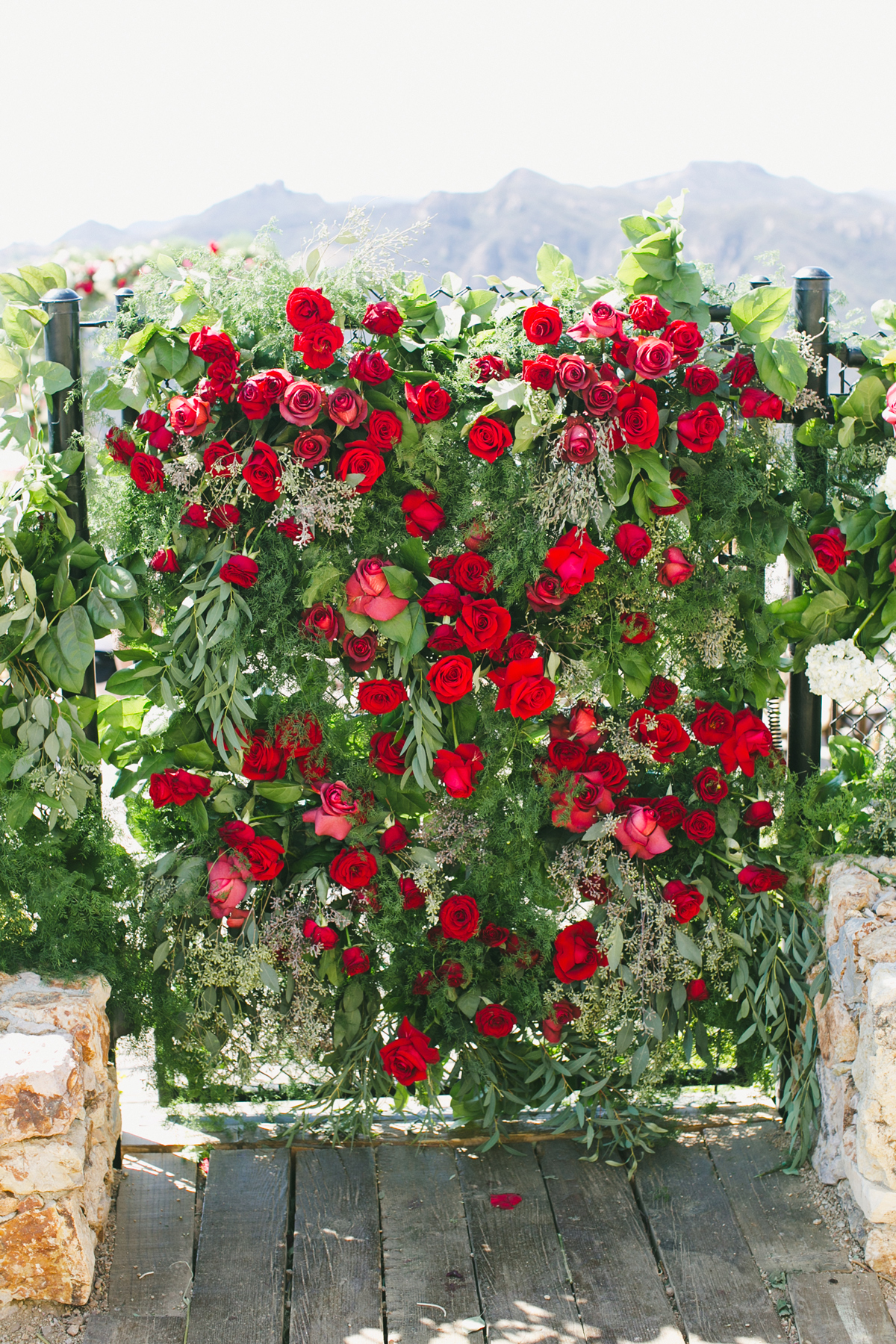 wedding plant wall red roses and greenery