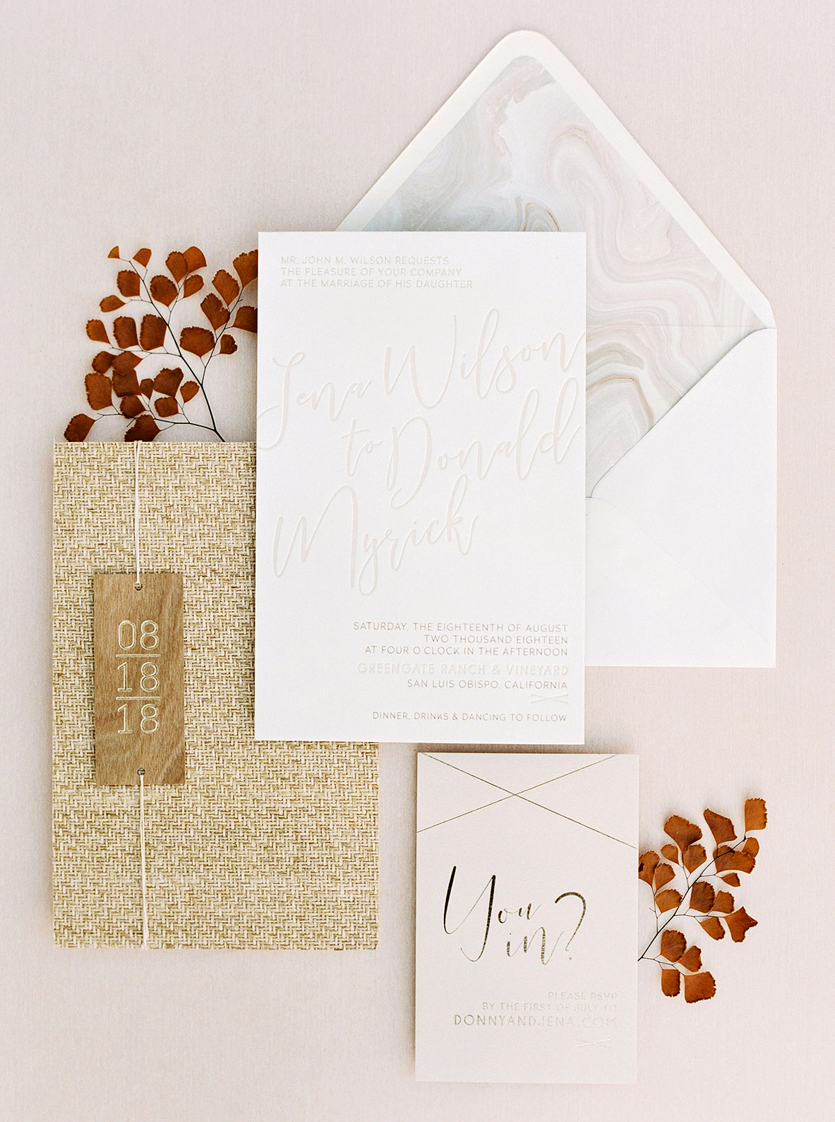 jena donny wedding invitation stationary suite