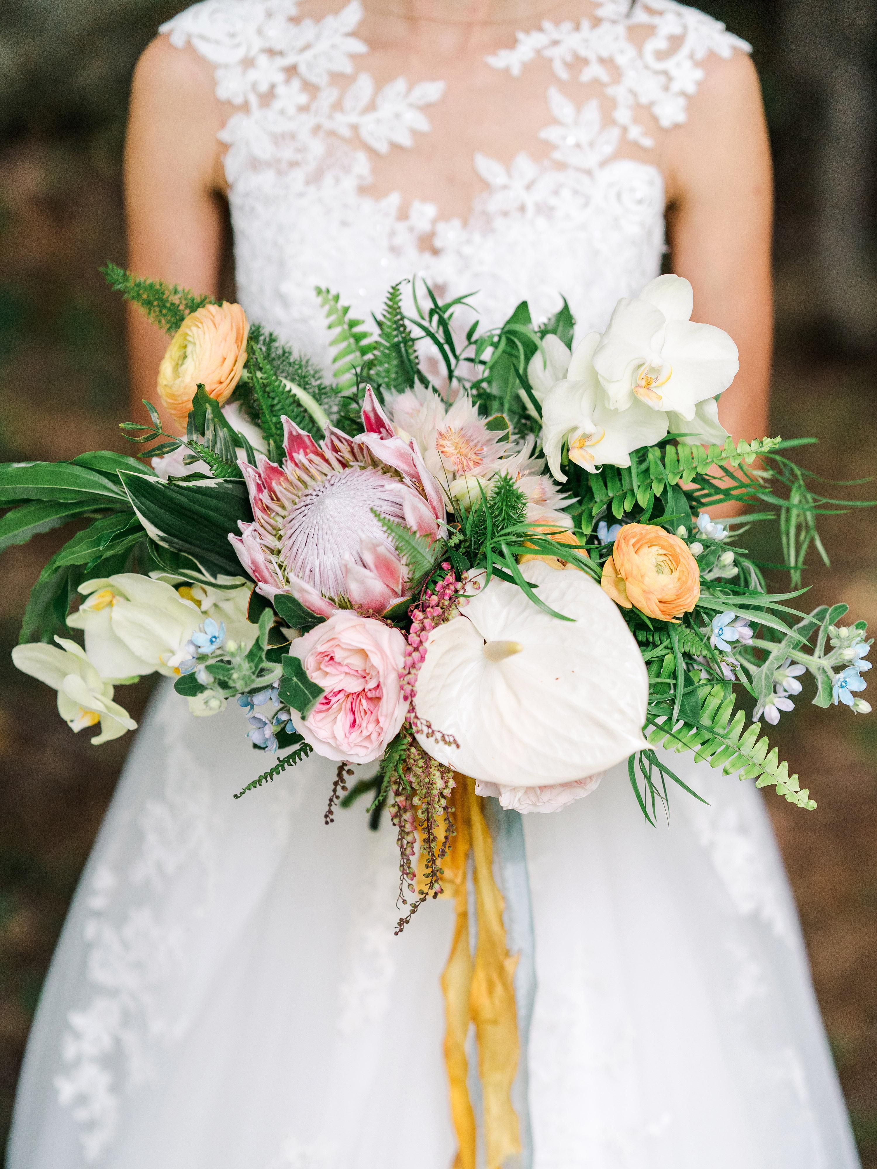 dayane collin wedding bride bouquet protea