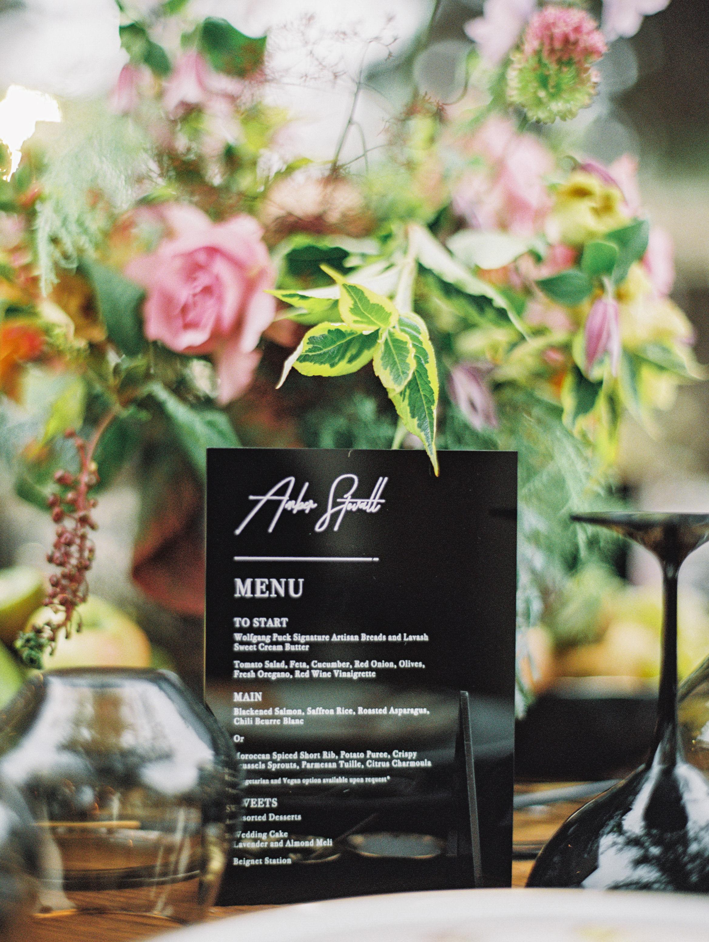 jamie and michael wedding menus