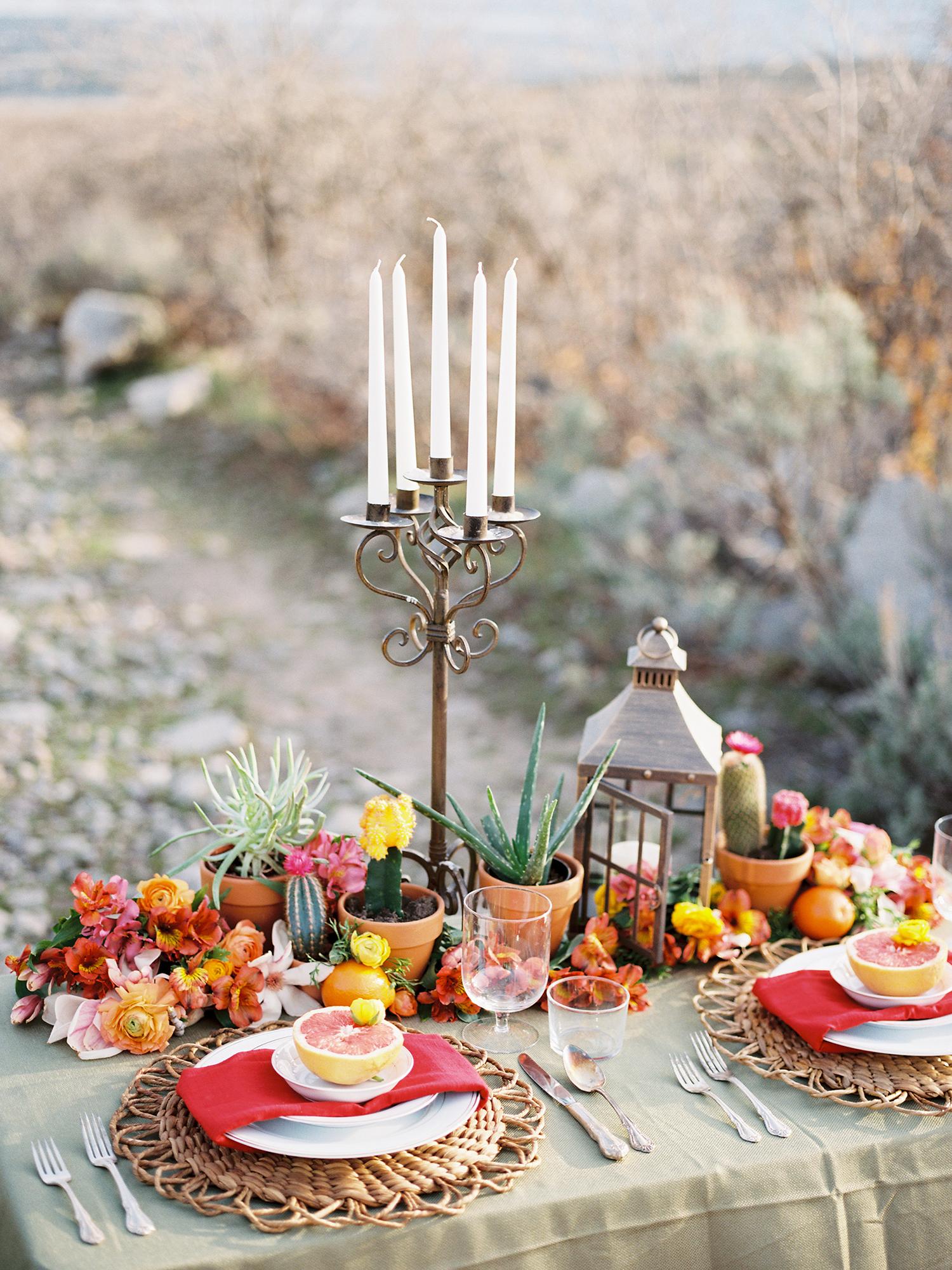desert-inspired wedding centerpiece