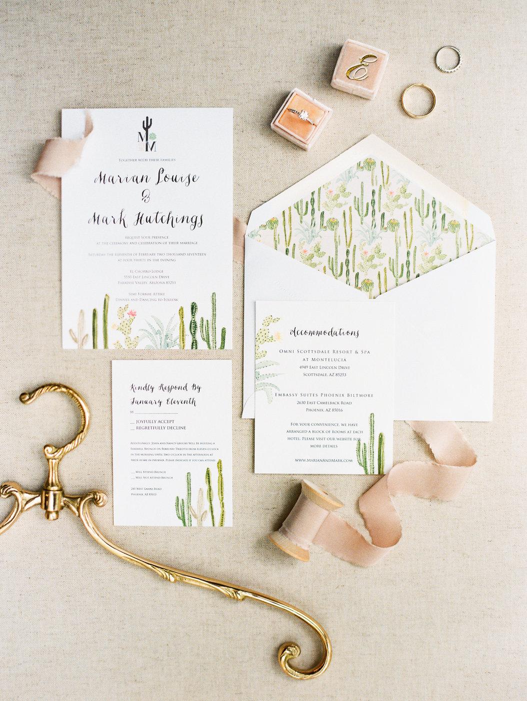cactus-themed desert wedding stationary