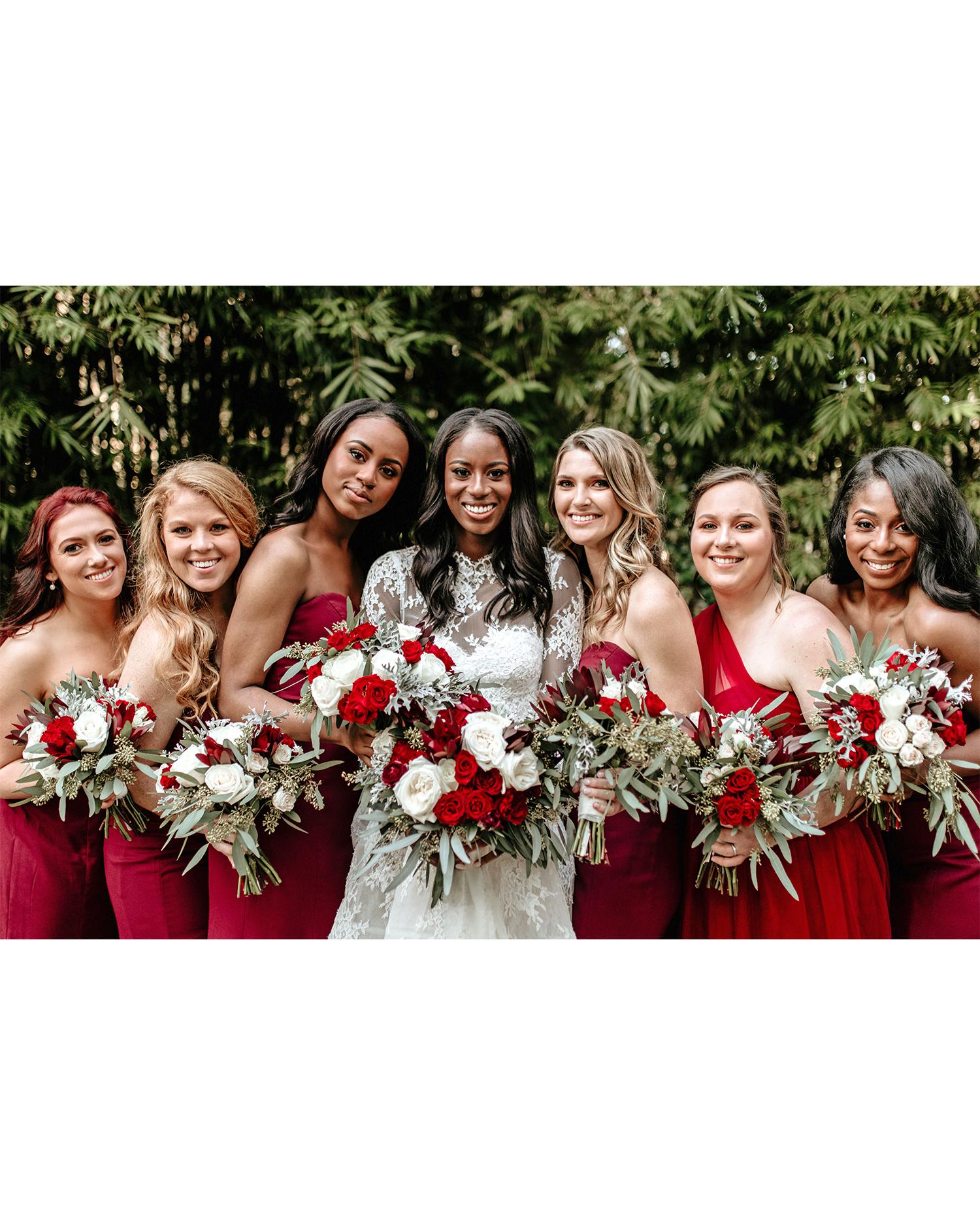 aerielle dyan wedding bridesmaids in red dresses