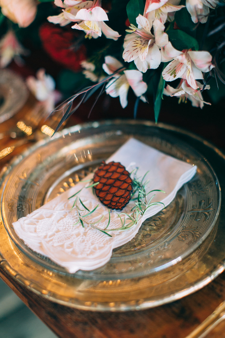Laser-Cut Pinecone Place Setting Detail