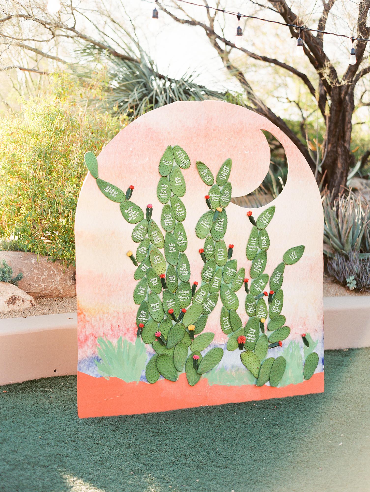 desert wedding inspired seating chart