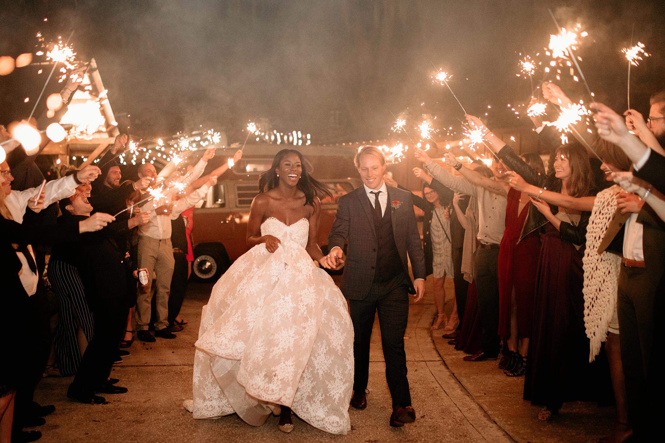 aerielle dyan wedding exit sparklers couple