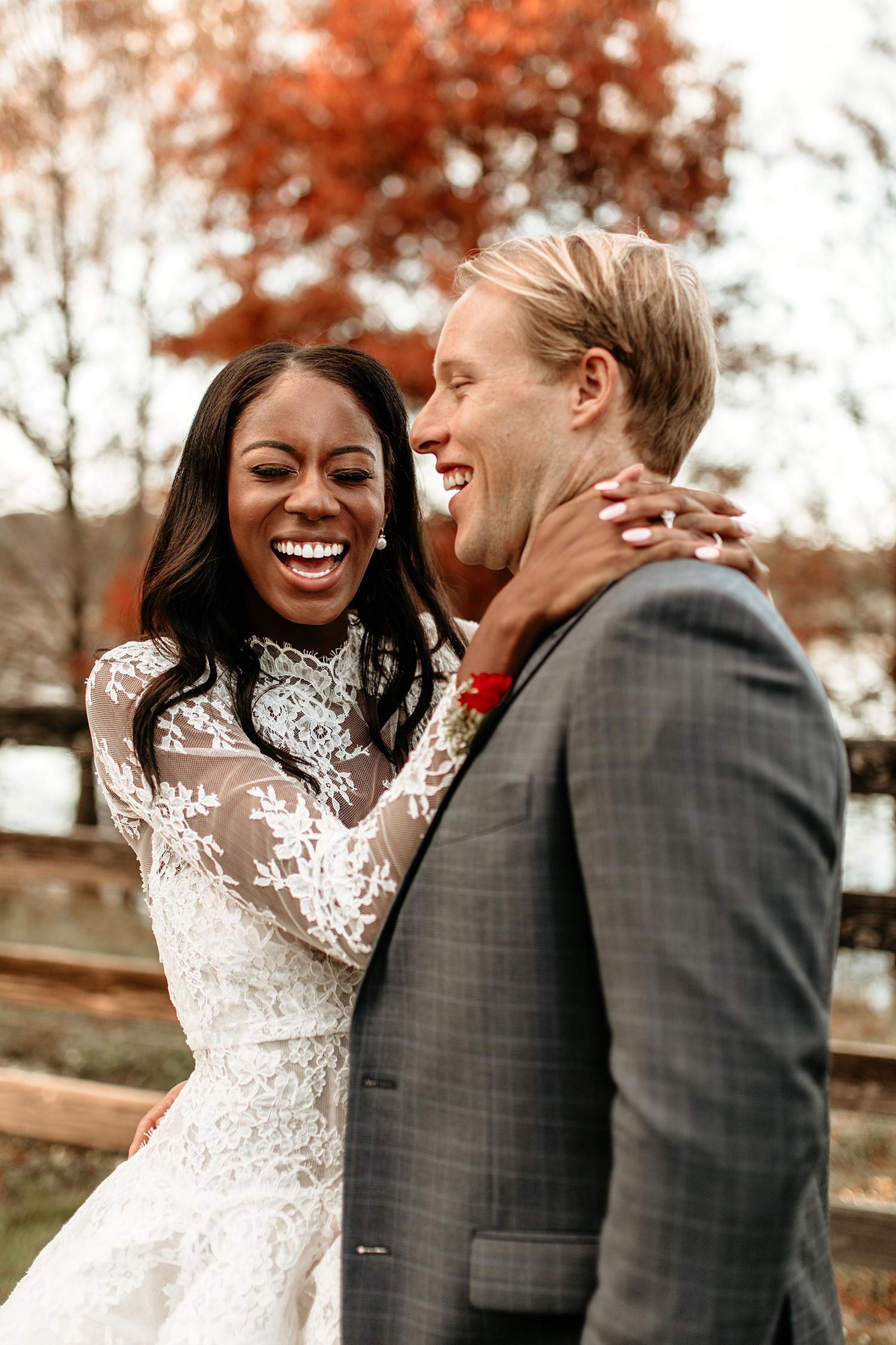aerielle dyan wedding couple laughing