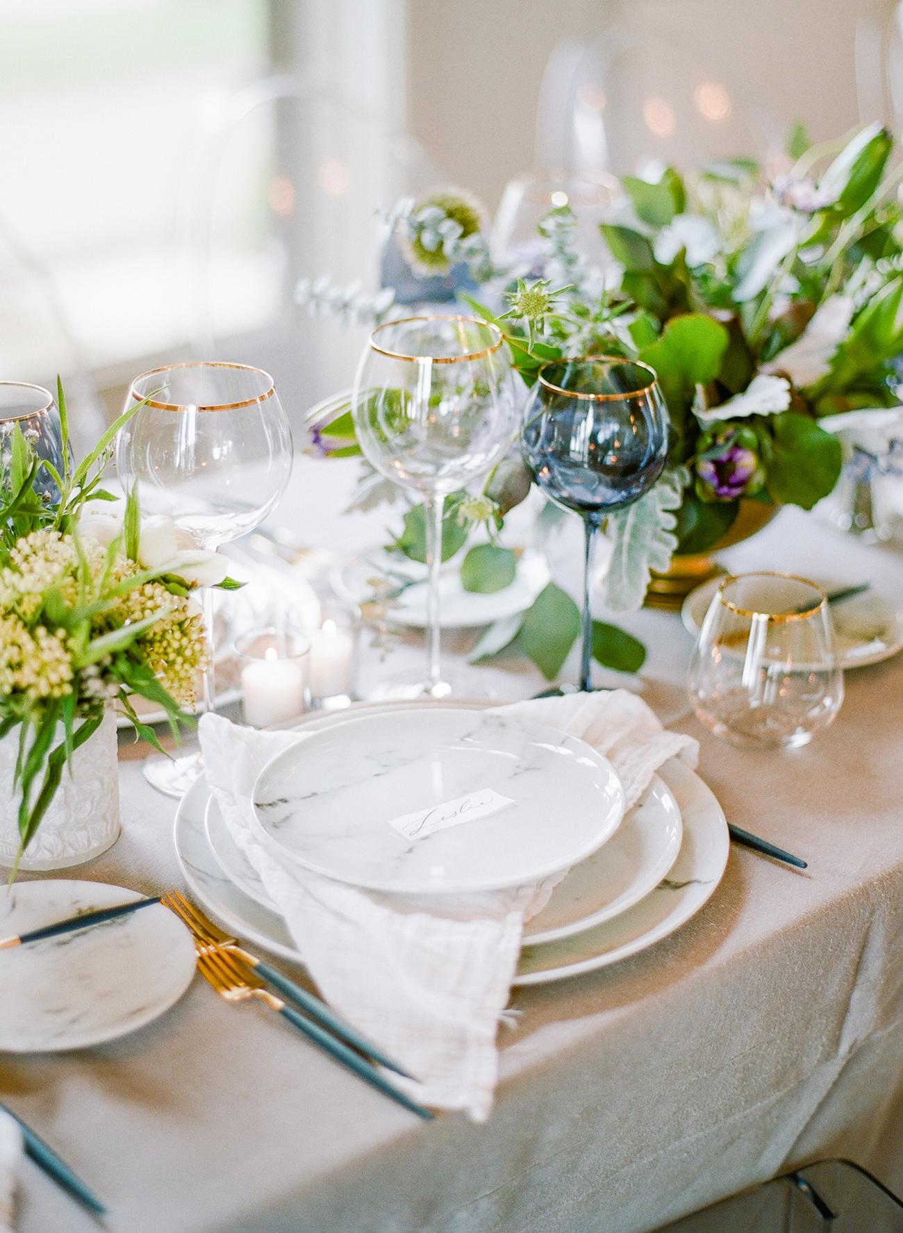wedding reception napkin folds triangular fold beneath marbled plate